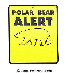 polar, señal, oso, alarma