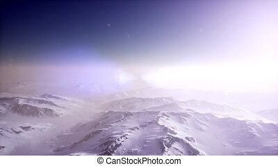 Polar Snow Rocky Mountains Ridges In a cold polar region -...