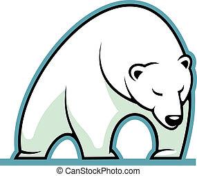 polar, soñoliento, oso, estilizado, ilustración, blanco