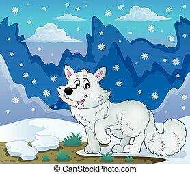 polar, tema, 2, raposa, imagem