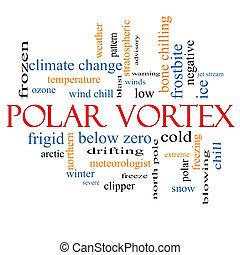 polar, vórtice, conceito, palavra, nuvem