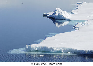 Polar waters - A beautiful Antarctic icescape in sunlight....