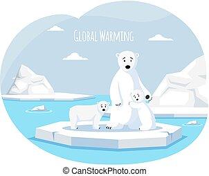 Polar white bear against background of iceberg, melting glacier, climate change and global warming