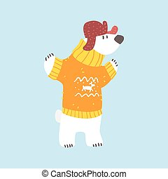 Polar White Bear In Sweater And Cap With Ear Flaps, Arctic Animal Dressed In Winter Human Clothes Cartoon Character