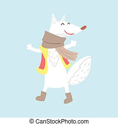 Polar White Fox In Vest And Scarf, Arctic Animal Dressed In Winter Human Clothes Cartoon Character
