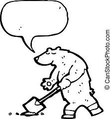 polare, buco, cartone animato, orso, vangata