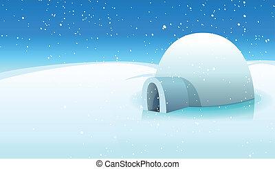 polare, ghiacciato, fondo, igloo