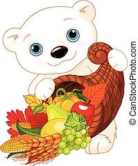 polare, prese, orso, cornucopia