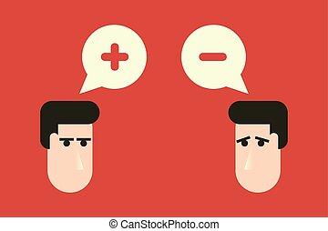 polarité, plat, têtes, pensée, positif, concept., deux, négatif, plus, contrastes, opposition, conception, moins, signs.