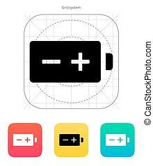 Polarity battery icon. Vector illustration. - Polarity...