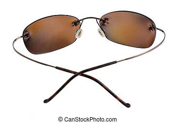 polarizing, lunettes soleil, lentilles, brun