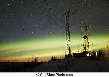polarlicht borealis, und, dämmerung, aus, antenne, komplex