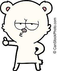 polarny, abdykując, niedźwiedź, znak, kciuki, znudzony, rysunek