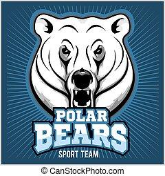 polarny, głowa, -, ilustracja, wektor, niedźwiedź, maskotka