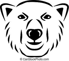 polarny, głowa, niedźwiedź