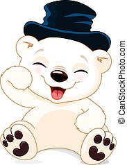 polarny miś, szczęśliwy
