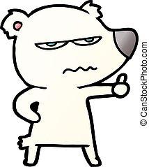polarny, udzielanie, gniewny, do góry, niedźwiedź, kciuki, rysunek