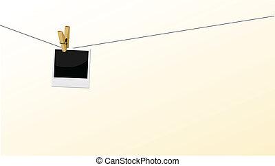 polaroid, é, anexado, ligado, correia