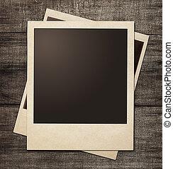 polaroid, aufnahme rahmt, auf, hölzern, grunge, hintergrund