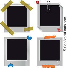 polaroid, bilderrahmen, satz