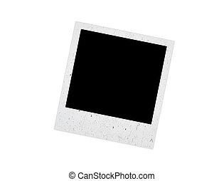polaroid, cadre, vieux, fond blanc
