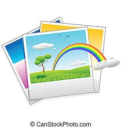 polaroid, foto, de, paisaje