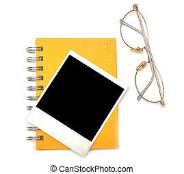 polaroid frame and eye glasses