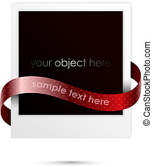 polaroid frame for your object with ribbon for your text