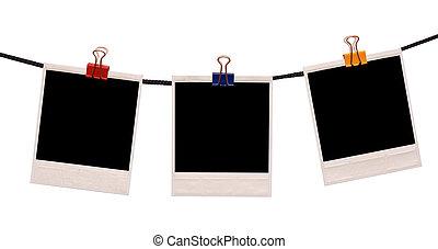 polaroid, frame, op, een, koord