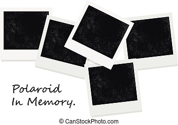 photo frame polaroid template on transparent grid isolated instant