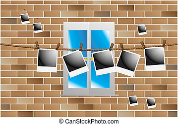 polaroid hanging on wall