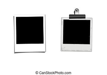 polaroid, isolato, sullo sfondo