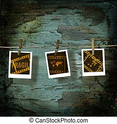 polaroid, mozi, ellen, öreg, lepattogzott, háttérfüggöny