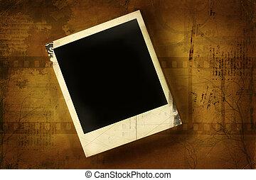 polaroid, oud, grunge, tegen, achtergrond