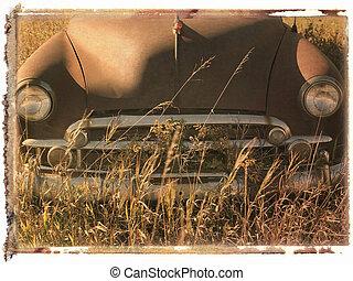 polaroid overfør, i, vogn.