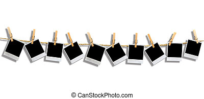 Polaroid Panorama With Shadow - Muttiple Blank Polaroid...