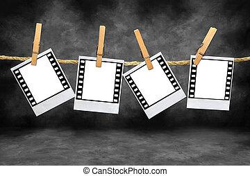 polaroid, película, blanks, con, 35 mm, fronteras