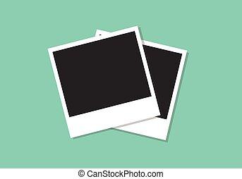 polaroid photo frame flat illustration
