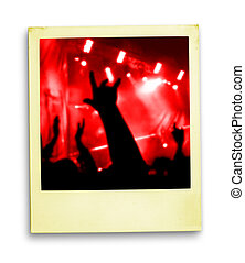 polaroid, photo:, tłum, od, miłośnicy