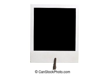 photoframe - polaroid photoframe on holder isolated on white...