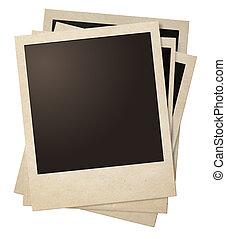 polaroid retro photo frames stack isolated
