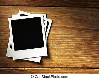 polaroid style photo frame - Polaroid photo frame on wood...