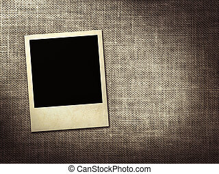 Polaroid-style photo on a linen background