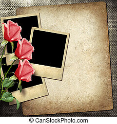 Polaroid-style photo on a linen background with red roses