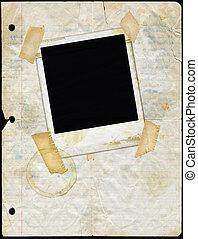 polaroid, taché, feuille détachée, papier