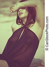 polaroid, tengerpart, női, szabadban, portré, folyó