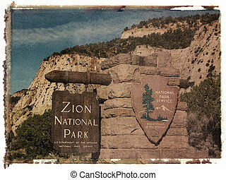 Polaroid transfer of wooden and stone sign for Zion National Park, Utah with rocky cliffs in the background.