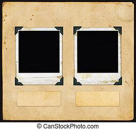 polaroid, weinlese, papier, -