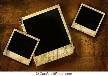 polaroidkamera, gammal, grunge, mot, bakgrund