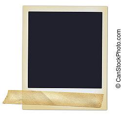 polaroidkamera, med, tejpa